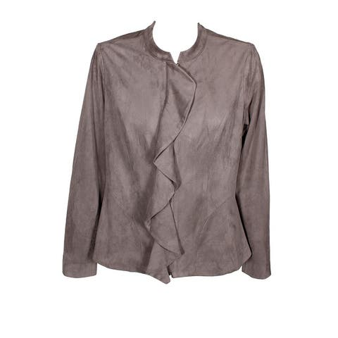Alfani Dark Grey Ruffled Faux-Suede Jacket M