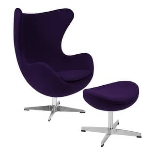 Offex Purple Wool Fabric Egg Chair With Tilt Lock Mechanism And Ottoman
