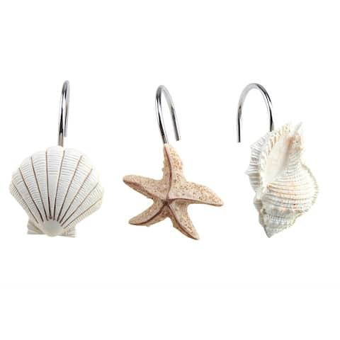 NEW 12 PCS DECORATIVE Seashell Shower Curtain Hooks Bathroom Beach Shell Decor - S
