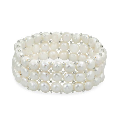 Flat Button Freshwater Cultured Pearl Triple Strand Stretch Bracelet