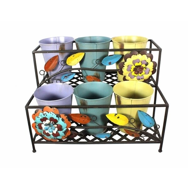 Colorfully Designed Two Tier Pot Metal Rack