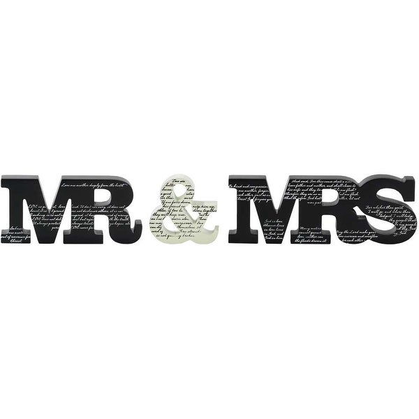 "19.75"" Black and White Mr and Mrs Tabletop Plaque - N/A"