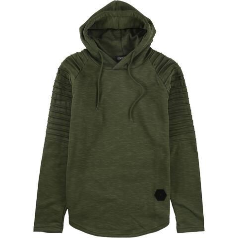 SIIMHWRSS Mens Pleated Raglan Sleeve Hoodie Sweatshirt, Green, X-Large
