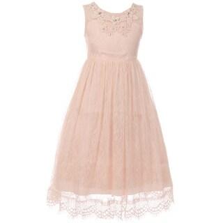 Flower Girl Dress Lace & 3D Flower Neckline Blush CC 5036