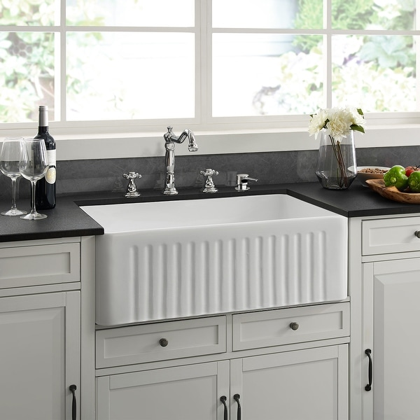 "Delice 30 x 18 Ceramic, Farmhouse Kitchen Sink - 30"" x 18"". Opens flyout."