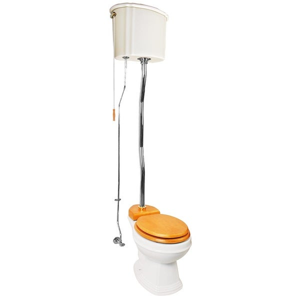 Biscuit High Tank Toilet, Round Bowl, Chrome Z-Pipe | Renovator's Supply