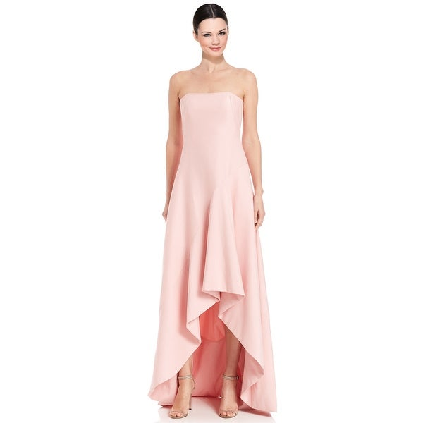 bae234aab2c Halston Heritage Silk Faille Strapless Structured Hi-Lo Evening Gown Dress  Lotus - 8