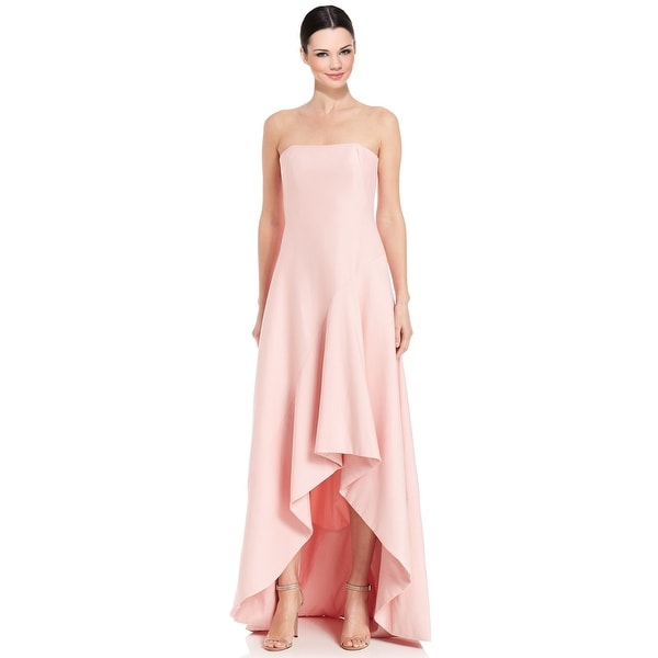 fed4d62905a8 Halston Heritage Silk Faille Strapless Structured Hi-Lo Evening Gown Dress  Lotus - 8