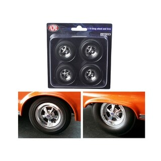 Hemi Bullet Cragar Drag Wheels and Tires Set of 4 Chrome 1/18 by ACME