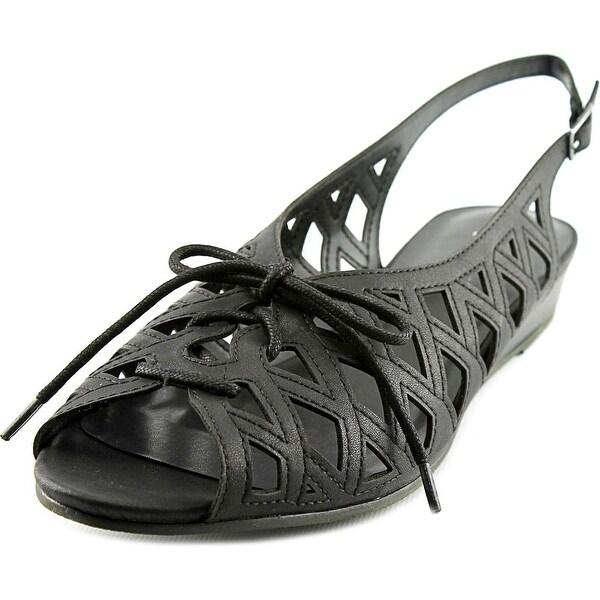 Easy Street Tinker Lace Up Women WW Open-Toe Synthetic Black Slingback Sandal