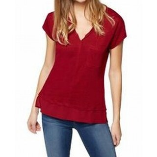 Sanctuary NEW Cabernet Red Womens Size Medium M Split Neck Tee T-Shirt