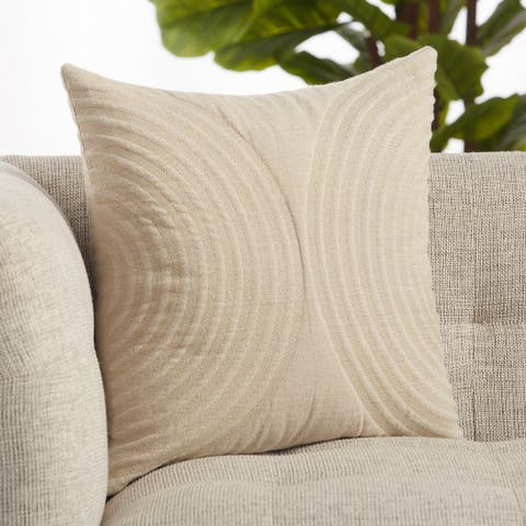 Lautner Light Taupe Geometric Throw Pillow 18 inch