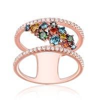 Brand New 0.90ct Round Brilliant Cut G-H/SI1 Multi Color Diamond & Natural Diamond Fancy Ring - White G-H