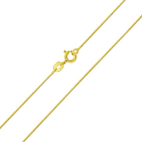 Basic Thin 019 Gauge Box Chain 14k Gold Plated 925 Sterling Silver 16 - 24 Inches Made In Italy