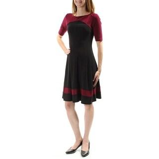 AMERICAN LIVING $79 Womens New 1031 Black 3/4 Sleeve Fit + Flare Dress 10 B+B