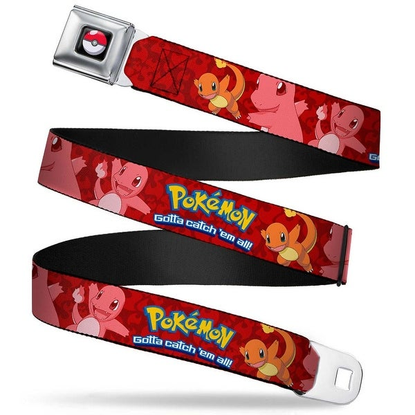 Pok Ball Full Color Pokmon Charmander Poses Flames Red Webbing Seatbelt Seatbelt Belt