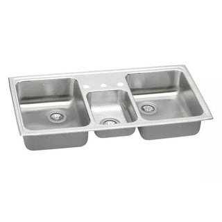 "Elkay PSMR4322 Gourmet Pacemaker Stainless Steel 43"" x 22"" Triple Basin Top Mount Kitchen Sink"