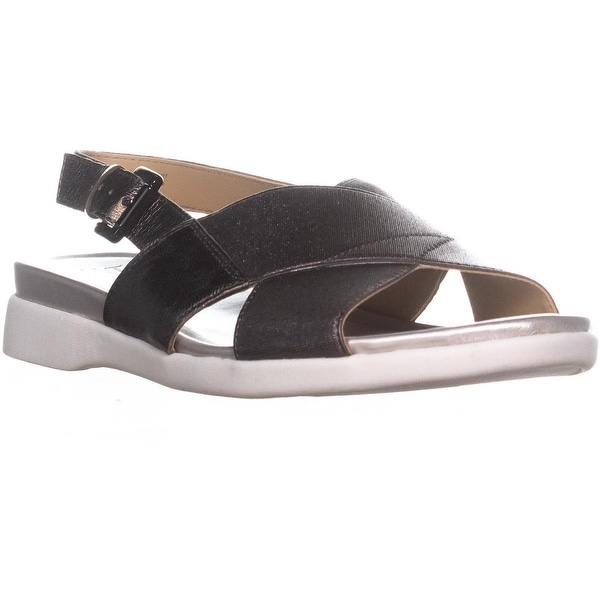 naturalizer Eliza Flat Ankle Strap Sandals, Gunmetal Leather
