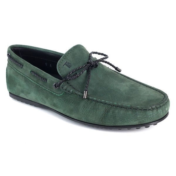 Shop Tods Mens Green Leather Gommini Driving Loafers - Ships To ... 3e29988fe