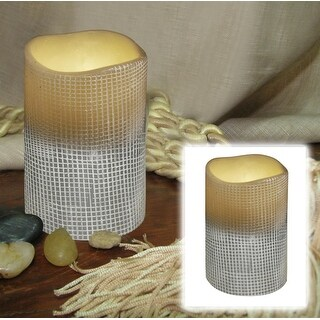 "4"" Stone Grey Lattice Design Battery Operated Flameless Flickering Wax Pillar Candle"