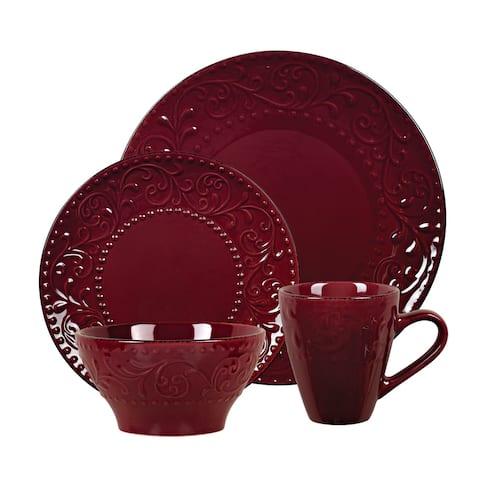 Lorren Home Trends 16 Piece Stoneware Scroll Dinnerware Set-Merlot
