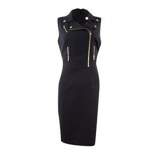 Calvin Klein Women's Gabardine Moto Sheath Dress