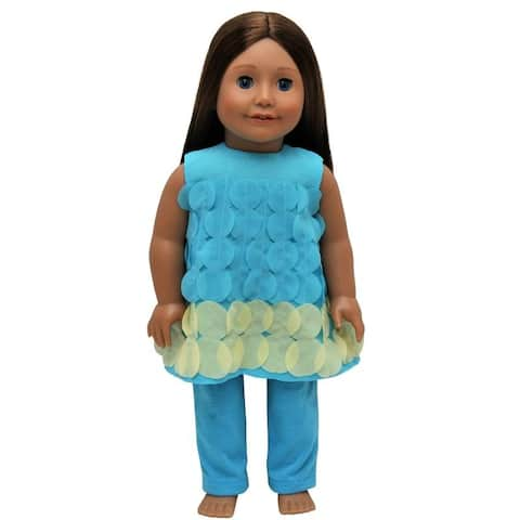 18 Inch Doll Clothes Outfit, Teal & Turquoise Legging Pants And Top Clothing Set Fits American Girl Dolls