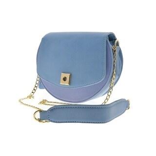 Cicel Girl PU Leather Shoulder Bag Ladies Semi-circular Messenger bag Blue