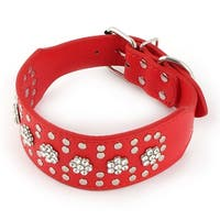 Faux Leather Artificial Rhinestone Adjustable Belt Pet Dog Collar Red XS Size