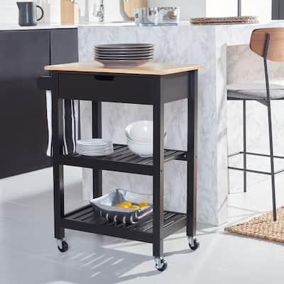 "SAFAVIEH O'Neill 1-Drawer 2-Shelf Kitchen Cart - 25.2"" W x 15.4"" L x 33.3"" H"