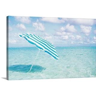 """Beach umbrella in shallow water"" Canvas Wall Art"