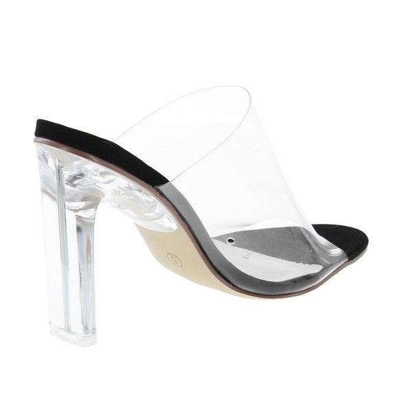 white open toe heeled mules