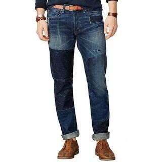 Denim and Supply Ralph Lauren Taketo Slim Distressed Jeans Dark Blue 28 x 30