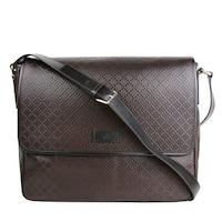 73c48167d1ab Gucci Men's Hilary Lux Dark Brown Diamante Leather Messenger Bag 223665  2044 - One size