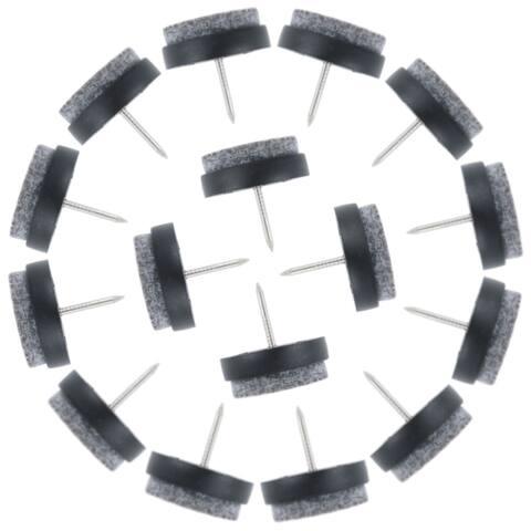 Felt Pad Nails Glides Floor Protector Noise Scratch Resistant for Furniture Legs Feet Black 24mm Dia 16pcs