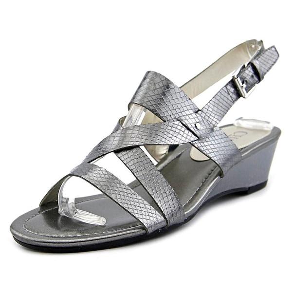 Chaps Reesa Women Open-Toe Leather Silver Slingback Sandal