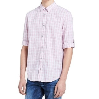 Calvin Klein Miami Pink Men's Size XL Plaid Button Down Shirt
