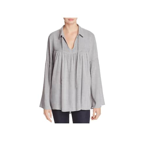 Side Stitch Womens Tunic Top Tie-Neck Bell Sleeves
