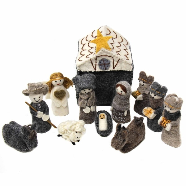 Handmade Felted Wool Christmas Nativity Set, 12 Piece. Opens flyout.