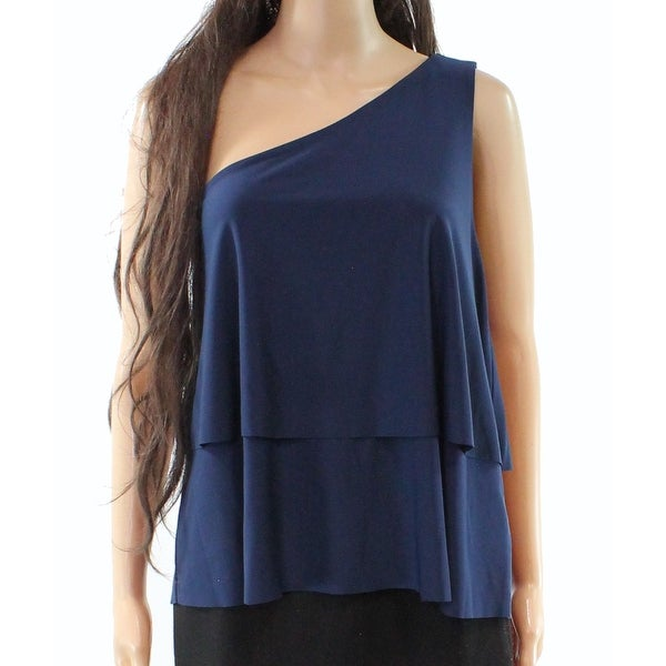 Halston Navy Women's Small One-Shoulder Tiered Blouse