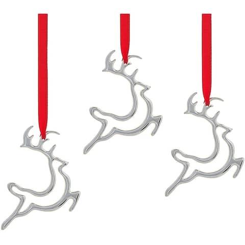 Nambe Mini Reindeer Ornaments Set of 3