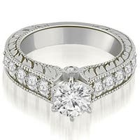 1.55 cttw. 14K White Gold Antique Cathedral Round Cut Diamond Engagement Ring