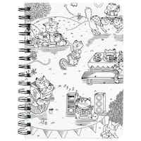 """Hall Pass Adult Coloring Spiral Bound Notebook 6""""X8.25""""-Kitty Karaoke"""