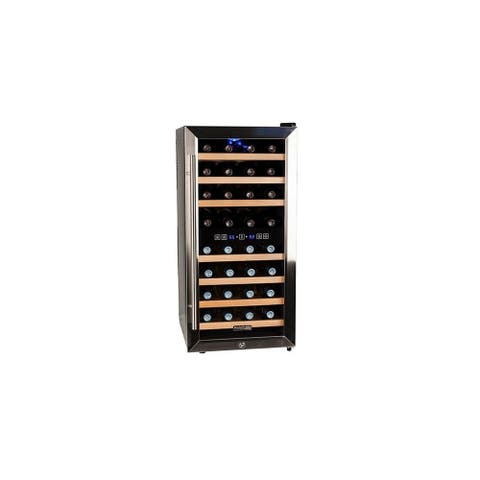"Koldfront TWR327E 16"" Wide 32 Bottle Wine Cooler with Dual Cooling Zones - Black and Stainless Steel"