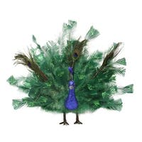 "14"" Colorful Regal Peacock Bird with Open Tail Feathers Christmas Decoration - BLue"