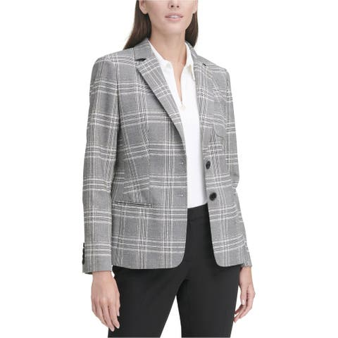 Tommy Hilfiger Womens Elbow Patch Two Button Blazer Jacket