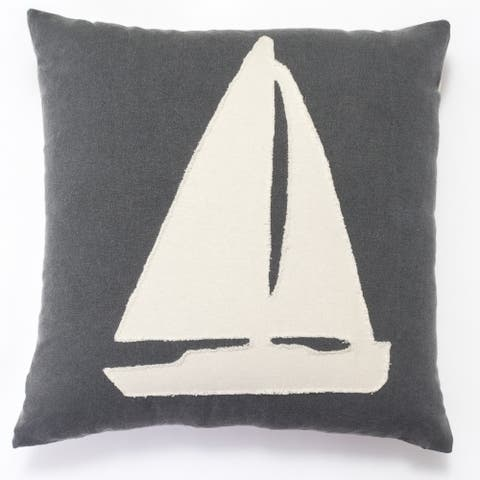 Cottage Home Grey Cotton Yacht Throw Pillow