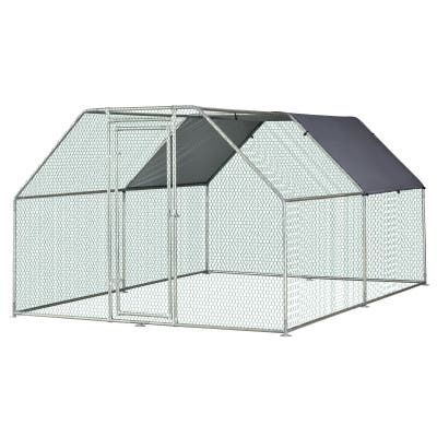 PawHut Galvanized Metal Chicken Coop Cage with Cover, Walk-In Pen Run 9' W x 12' D x 6.5' H - Silver