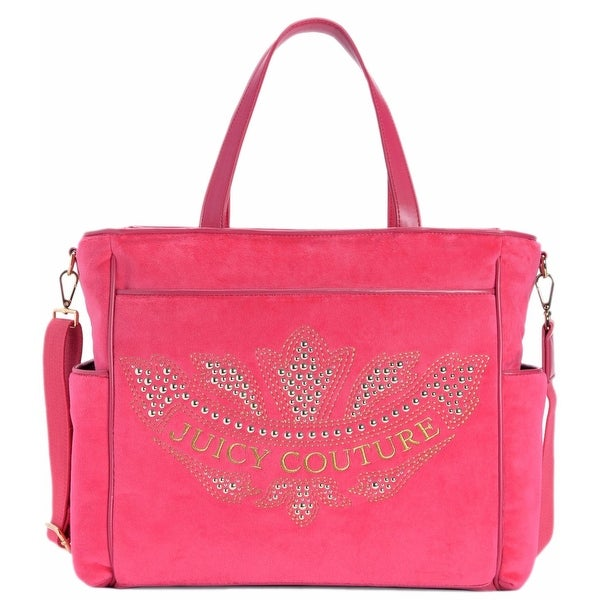 "Juicy Couture Pink Velour Marrakech Cameo Baby Diaper Bag - 13"" x 7"" x 12"""