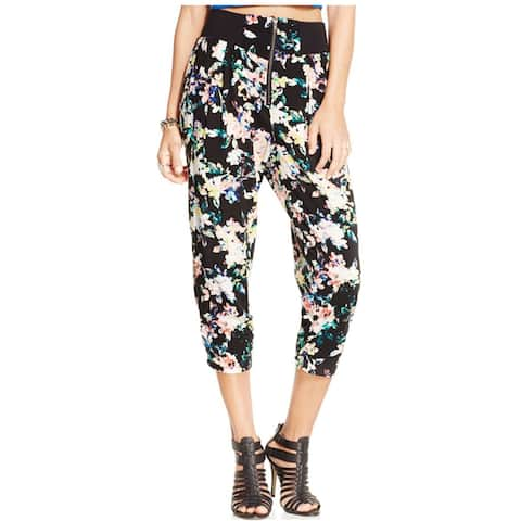 Material Girl Womens Printed Cropped Casual Trouser Pants, Black, Small